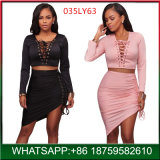Fashion Lace up Hot Night Style Lady Dress Europe Slim Woman Dress