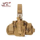 Tactical Military Hunting Molle Pistol Gun Drop Leg Thigh Holster with Radio Pouch