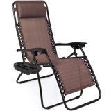 Fmab Zero Gravity Folding Lounge Beach Chairs W/Canopy Magazine Cup Holder