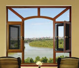 Middle East Standard Cherry Wood Double Color Aluminum Window