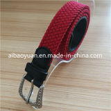 Red Color Ladies Polyester Fabric Narrow Braided Belt