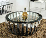 Stylish Clear Glass Stainless Steel Round Center Coffee Table Modern