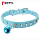 Dog Leather Collar Crystal Cat Product Bells PU Pet Collar