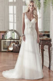 V-Neck Bridal Party Evening Gowns Tulle Flowers Wedding Dress Wan44