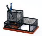 Wood Desk Accessories and Organizers/ Metal Mesh Stationery Organizer/ Office Desk Accessories