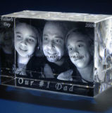 3D Laser Engraving Blank Crystal Glass Block Cube for Souvenir