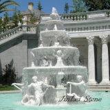 White Stone Sculpture Water Fountain for Garden Decoration