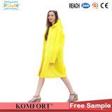 Long Yellow Rainwear Poncho PVC Raincoat