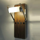 Modern Design Wood Veneer and Rotatable Metal Fabric Shade Wall Sconces Wall Lamp