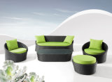 Comfortable Sofa Set Green Cushion and Black Rattan Furniture