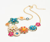 Latest Flowers Alloy Resin Necklaces, Fashion Jewelry