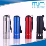 Outdoor Mini Bright Flashlight&9LED Alumminum Torch with Rope
