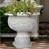 Outdoor Decoration White Carrara Round Flower Planters for Garden