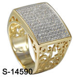 Hot-Selling 925 Silver Two Tone Micro Pave CZ Men′s Ring. (S-14590)