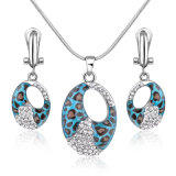 Rhinestone Rhodium Plating imitation Crystal Beads Fashion Pendant Necklace Set