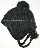 Plain Knitted Earmuff with Pompom (HY17073116)