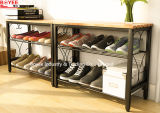 Metal 2 Tier Shoe Rack Storage Organizer Seat Shoe Shelf