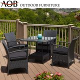 Modern Wholesale Outdoor Garden Hotel Resort Sea Side Rattan Wicker Black 4 Seater Tables and Chairs Dining Furniture