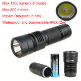 Military Ipx-8 Waterproof Shockproof Rechargeable Length Tactical LED Flashlight 6 Mode 1300 Lumens LED Torch
