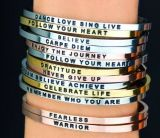 Fashion Custom Engraved Jewelry Stainless Steel Open Cuff Bracelet Bangle
