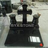 European Granite Cross Carving Headstone / Tombstone with Vase