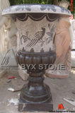 Carved Bird Stone Flower Pot for Outdoor Garden Decoration