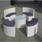 White Leather Round Sectional Sofa Set