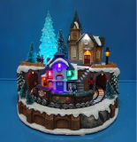 Polyresin Christmas Decoration 9′′ LED Train Station with Rotating Train and 8 Christmas Songs
