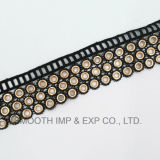 Black Fashion Metal Cotton Eyelet Lace Trim Tape Clothes Accessories