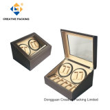 Coffee PU Leather Cover Dual Automatic Watch Winder
