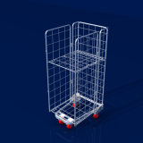 European Supermarket Multi-Layer Foldable Nesting Mesh Roll Container Trolleys