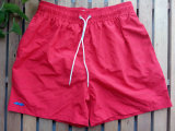 Red Nylon Stock Fabric Swimming Shorts Customized Beach Shorts
