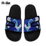 Hellosport Printed PVC Beach Slippers, Black Custom Logo Slides Casual Footwear Women, Cheap Fashionable Slippers Summer 2019