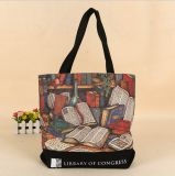 Full Color Printed Canvas Tote Bag with Interior Zipper Pocket