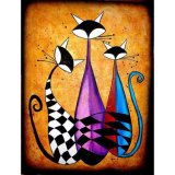 Cheap Abstract Cats DIY Embroidery Painting Mosaic Art Painting