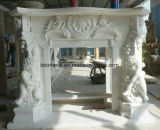 White Marble Carved Fireplace Stone Mantel with European Stlyle