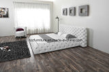 European Style Luxury Bedroom Furniture Soft Bed with Leather