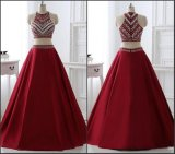 Wine Prom Party Gowns A-Line Two Pieces Beading Evening Dress Lb4034