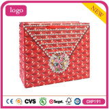 White Card Paper Red Diamond Shopping Bag
