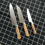 3PCS Kitchen Knife Set Chef 8 Inch German Stainless Steel Knives Full Tang Blade with Olivewood Handle for Kitchen