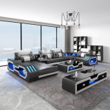 Modern Villa Lounge Furniture Genuine Leather Functional Sofa