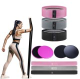 Dongguan Factory Wholesale Long Fabric Flexibility Yoga Pilates Fitness Bands Set, Custom Logo High Elasticity Resistance Bands Gliding Disc Core Sliders Set