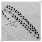 Plastic Beads with Black Section Catholic Rosary (IO-cr273)
