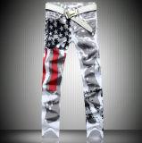 Custom White America Flag Printing Spandex Slim Leisure Big Size Jeans Trousers