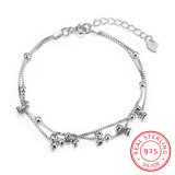 925 Sterling Steel with Several Bowknot Bracelet Pole Chain Charm Gracile Bracelet