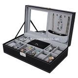 Black Leather Jewelry 8 Watch Organizer Storage Box