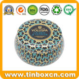 Metal Seamless Round Shaped Scented Candle Tin Box Set