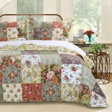 Bed in a Bag Patchwork Quilt Cover Set 3PC Reversible Quilt Set with Flower Prints