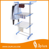 3 Tier Rolling Clothes Drying Rack Clothes Garment Rack Adjustable Laundry Rack with Foldable Wings Shape Indoor/Outdoor Standing Rack (JP-CR300WMS)