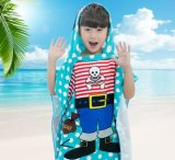 Kids′ Printed Velour Bath Poncho Bath Towel with Cape